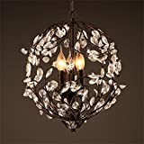 MEHE HOME- Forgé cristal de fer lustre créatif branches loft personnalité magasin de vêtements vintage chandelier restaurant bar café de chambre...