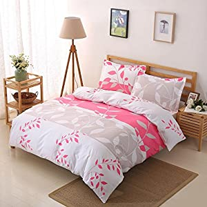 Colourful Snail Well Designed Printed Leaves & Stripe Pattern Duvet Cover Set, Made of Lightweight Polyester microfiber, Ultra Soft and Easy Care, Wrinkle Resistant, Queen/Full