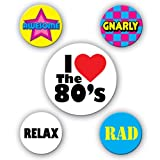 80s Party Buttons (asstd designs) Party Accessory  (1 count) (5/Pkg)