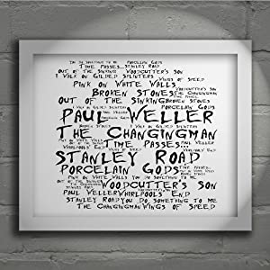 `Noir Paranoiac` Art Print - PAUL WELLER - Stanley Road - Signed & Numbered Limited Edition Typography Unframed 10x8 Inch Album Wall Art Print - Song Lyrics Mini Poster