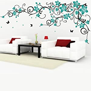 Decomatters butterfly vine flower wall stickers black for Stickers para pared