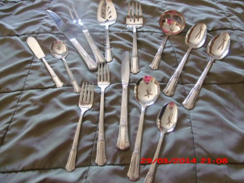 Wm Rogers Overlaid IS Treasure Pattern 83 Piece Service for 12 (Minus 1 Desert Fork) Plus 9 Serving Pieces