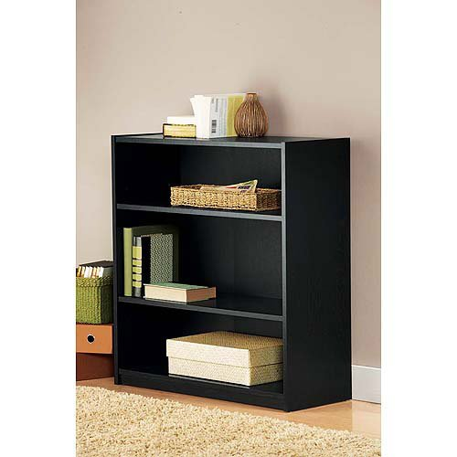 mainstays 3 shelf bookcase black