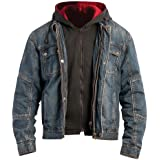 BILT IRON WORKERS Steel Denim Motorcycle Jacket with Hoody - 40, Dark Blue
