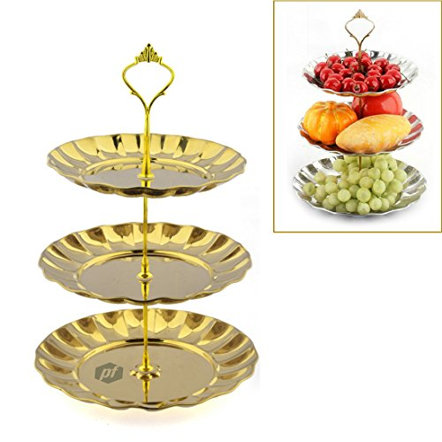 Fruit Plate, Petforu 3 Tier Fruits Cakes Desserts Plate Stand Gold Color Stainless Steel Plates (Buffet Server 3 Tier compare prices)