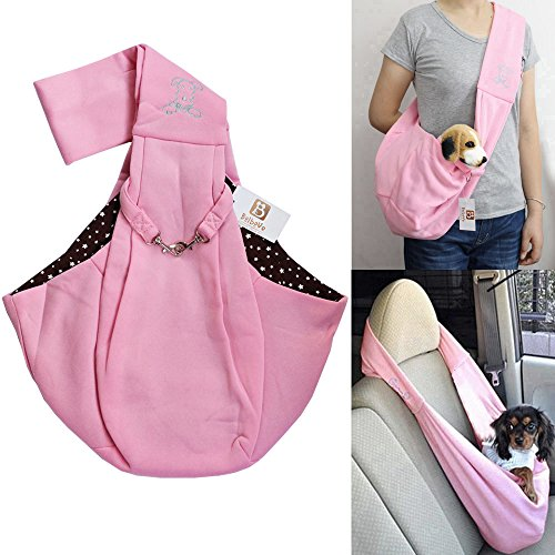 i'Pet® Hands-free Reversible Small Dog Cat Sling Carrier Bag Travel Tote Soft Comfortable Puppy Kitty Rabbit Double-sided Pouch Shoulder Carry Tote Handbag (Pink with Stars)