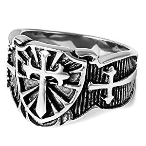MunkiMix Stainless Steel Ring Band Silver Black Celtic Medieval Cross Sword and Shield Vintage Size N Men