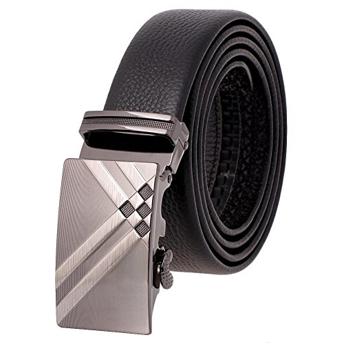 Vbiger Fashion Men's Ratchet Belt Automatic Buckle Full Grain Leather 35mm Wide (Black 2)