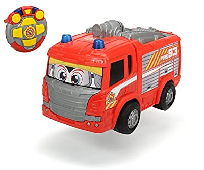 Dickie Toys 203814031 - RC Happy Scania Fire Engine, funkferngesteuertes Feuerwehrauto, 27 cm