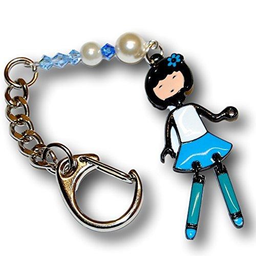 Articolato Bambola, colore: blu, con cristalli Swarovski e artisan pearls. Unique-Anello portachiavi o borsa.