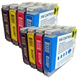 8 CiberDirect Compatible Ink Cartridges for use with Brother MFC-5460CN Printers.