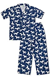 GreenApple Boys Organic Cotton Horse Pattern Pyjama Set (FVGA080, Blue, 2-3 Years)