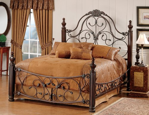 Hillsdale Furniture 1037Bqr Bonaire Bed Set With Rails, Queen, Brushed Bronze front-912265