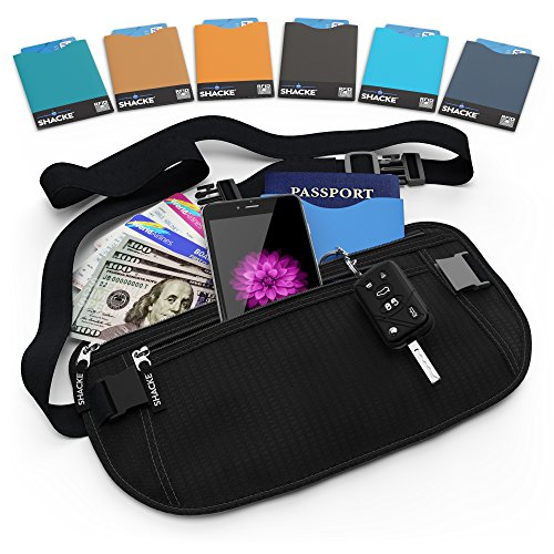 Shacke Money Belt Pouch w/ Slacker Clip Technology - RFID Passport & CC Card Sleeves Included (Black) (Bison Money Belt compare prices)