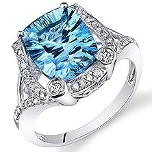 buy Peora 14K White Gold Cushion Concave Swiss Blue Topaz Diamond Ring (4.78 Cttw)