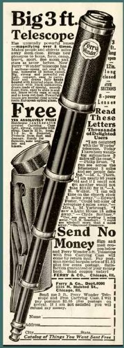 1926 Ferry & Co Advertisement For Their Big 3' Telescope, With Image Original Paper Ephemera Authentic Vintage Print Magazine Ad / Article