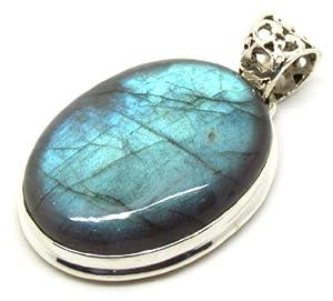 Sterling Silver Quartz Blue Labradorite Original Stone Pendant 925 Silver Pendant Solid Sterling Silver Pendant