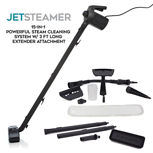 Jet Steamer - 15 in 1 Handheld Multi-Purpose Steam Cleaning System - Portable - Extra Long 3ft Floor Attachment - Garments - Kitchen - Bathroom - Car - Bed Bugs (Garment Care System compare prices)