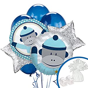 Sock Monkey Blue Balloon Bouquet Set