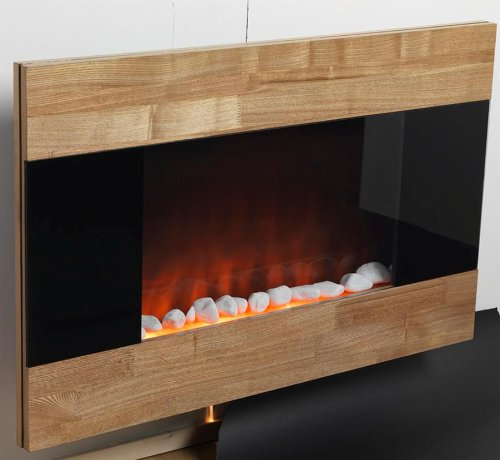 ELEGANT WOODEN FINISH ELECTRIC FIREPLACE WITH DECORATIVE PEBBLES AND REMOTE photo B00E3D5NYI.jpg