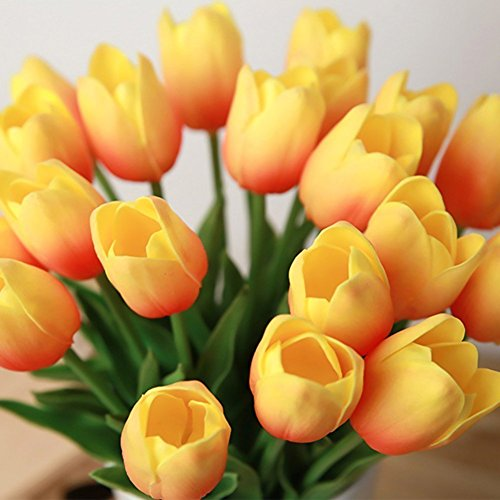 kingtoys® 10PCS PU Mini Tulip Fiore Artificiale Real Touch Latex Tulipano per la cerimonia nuziale per la decorazione domestica (Arancio)