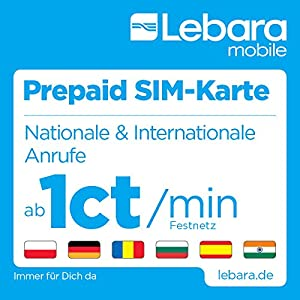 lebara mobile pre paid sim map with 10 guthaben 7 50. Black Bedroom Furniture Sets. Home Design Ideas