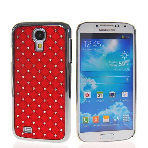iLookcase RED Deluxe Rhinestone Bling Chrome Plated Case Cover for Samsung Galaxy S4 i9500