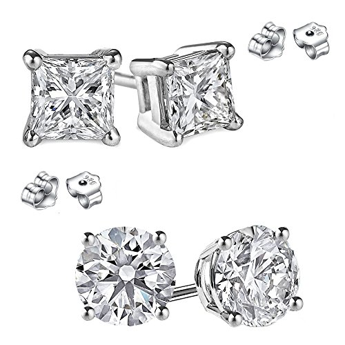 2 Pairs Combo Princess and Round Cubic Zirconia Stud Earrings 1.00 Carat Total Weight