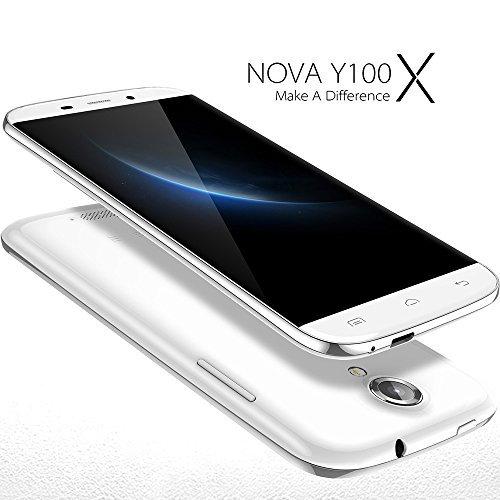 DOOGEE Nova Y100X 5 Zoll Unlocked Smartphone Android 5.0 3G Handy ohne Vertrag Quad Core 1,3GHz 5MP+8MP Dual Kamera 1GB+8GB 1280x720 Display Wifi Bluetooth 4.0 mit MEMTEQ® Eingabestift Reinigungstuch Schutzfolie Schutzhülle Weiß
