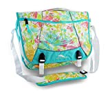 High Sierra Tank Messenger Bag, Butterflies/Aquamarine/White, 18x13.5x7-Inch