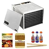 Excalibur 9 Tray Large Food dehydrator with 26 hour Timer + Preserve It Naturally Book + Cutting Board Bamboo 8 X 12 Bamboo Finish + Multi-Purpose Chopper Plastic Finish + Bamboo Toast Tong - 6.5 Inch Long