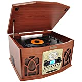 Wood : Pyle PTCDS7UBTBW Bluetooth Turntable System, Retro Vintage Classic Style Vinyl Record Player With Vinyl-to-MP3...