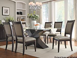 9 Bering 5 Pc X Base Dining Table Set By Homelegance In Dark Espresso Dining Room Furniture Sets Hot Very Nine