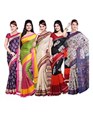 AISHA Printed Fashion Machine Art Silk Multicolor Sari (Pack Of 5)