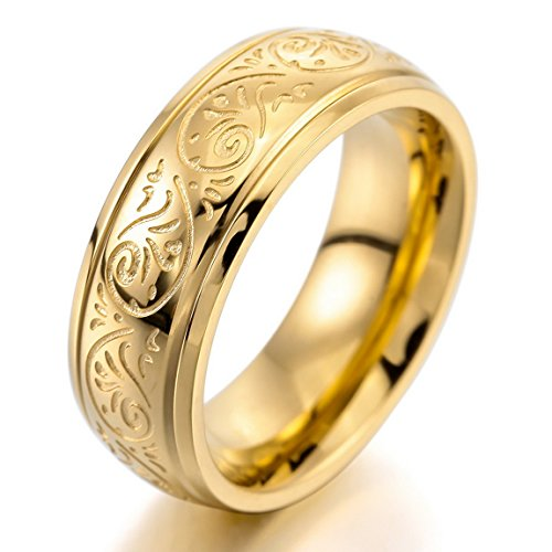 Men'S 7Mm Stainless Steel Ring Band Gold Engraved Florentine Design Charm Elegant Size7