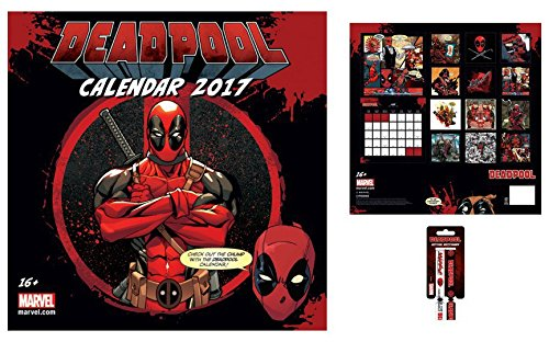 Set: Deadpool, Marvel Comics, Calendario Ufficiale 2017 (30x30 cm) E 1x Braccialetto (10x2 cm)