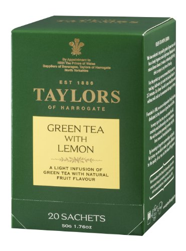 Taylors of Harrogate, Green Tea, Green Tea with Lemon, 20-Count Wrapped Tea Bags (Pack of 6)