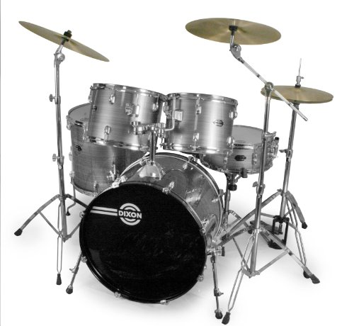 Dixon Spark Podsk522Csv 5-Piece Drum Set, Cyclone Silver