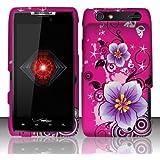 Motorola Droid Razr xt912 Accessory - Hot Pink Sakura Design Protective Hard Case Cover for Verizon