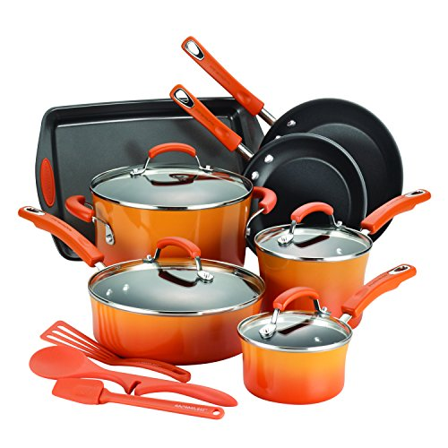 Rachael Ray 14-Piece Hard Enamel Nonstick Cookware Set, Orange (Pot Set Rachel Ray compare prices)