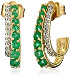14k Yellow Gold, Emerald, and Diamond J-Hoop Earrings (0.08 cttw, I-J Color, I1-I2 Clarity)
