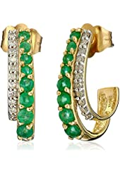 14k Gold, Gemstone, and Diamond J-Hoop Earrings (0.08 cttw, I-J Color, I1-I2 Clarity)
