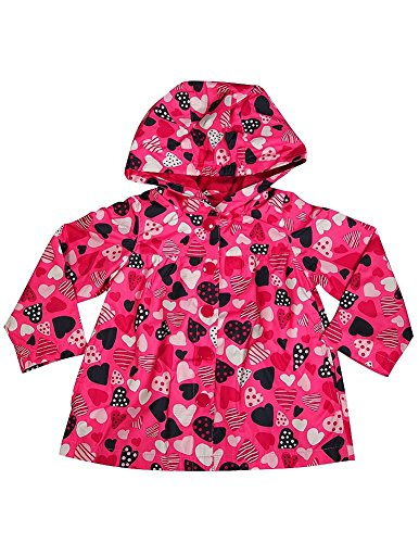 Osh Kosh B'gosh - Baby Girls' Hooded Hearts Rain Jacket, Pink 36662-12Months