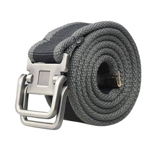 AUBIG-Doppio anello fibbia Outdoor Uomo Cintura a vita in tela e pelle, colore: grigio