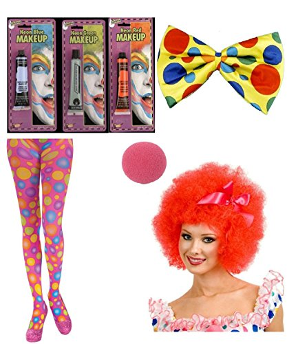 [Adult Womens Clowning Around Accessory Kit with Makeup] (Clown Around Makeup Kit)