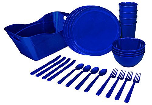 Plastic Dinnerware Set + Tote / Caddy - Complete 25 Piece Reusable Plastic Small Space Kitchenware Set With Cups, Plates, Bowls, Utensils & Convenient Storage Tote / Caddy. Durable, Microwavable, Bpa Free, Blue, By Party Peacock