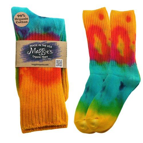 Maggies Functional Organics Darker Tie Dye Crew Sock 10 To 13 Size
