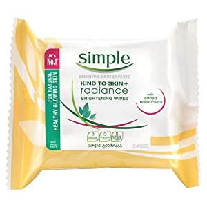 Simple Kind to Skin+ Radiance Brightening Cleansing Wipes, 25 wipes