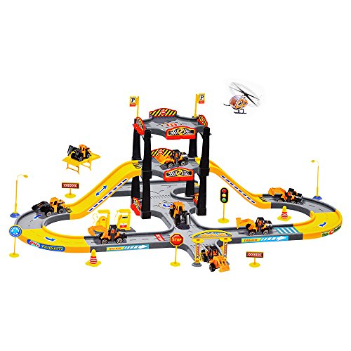 Acekid-Slot-Racing-City-Construction-Parking-Garage-Playset-with-3-Vehicles-and-1-Plane-Car-Playset