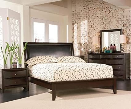 4pc Full Size Platform Bedroom Set in Cappuccino Finish